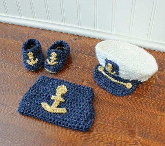 2645d22db Newborn Sailor Set - Crochet Sailor Hat - Newborn Photo Outfit - Sea ...