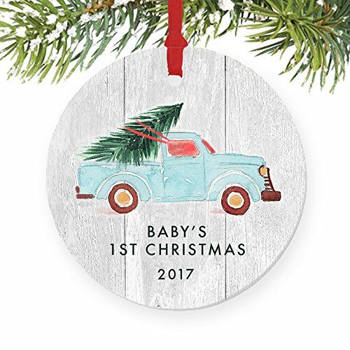 Babys First Christmas Ornament 2017 Newborn Boy Or Girl Baby S 1st Gift Id Funny Christmas Ornaments Newlywed Christmas Ornament Baby S 1st Christmas Ornament