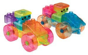 Alex Toys Prism Bricks by Alex. $22.56. Set includes 50 Prism Bricks. Comes in a convenient, reusable storage jar. Building activities inspire imagination and construction skills. Includes a base top to which children can build upon. Blocks come in assorted transparent colors. From the Manufacturer                Alex Prism Bricks is the only series of transparent building bricks that radiate color when light passes through them. This set includes 50 big and chunky ra...