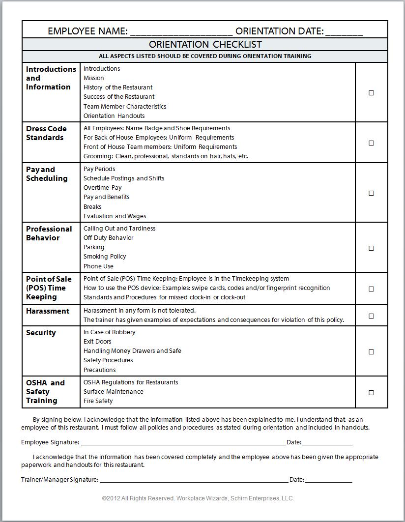 Image Result For Sample Food Server Uniform Agreement Checklist In