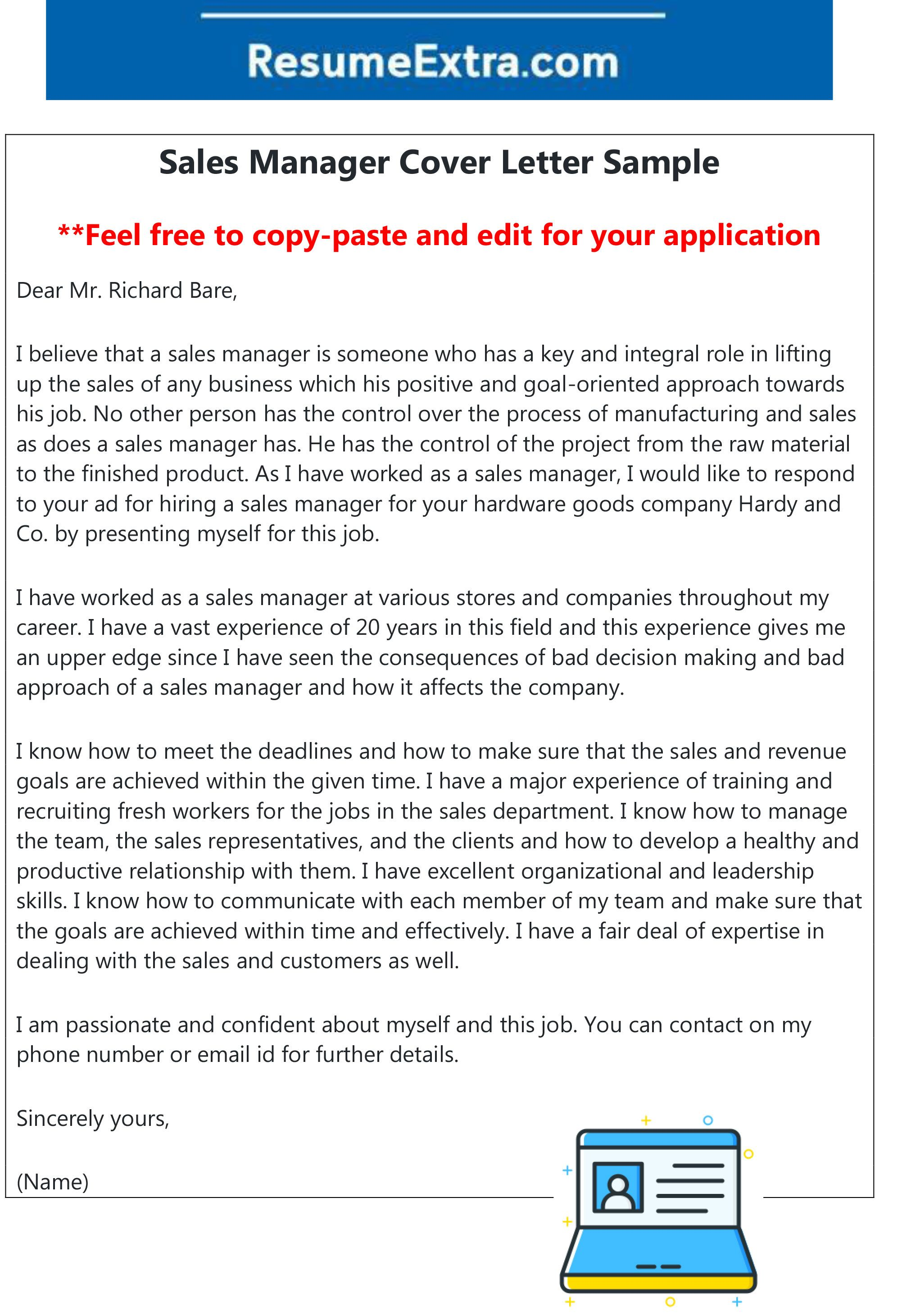 Here is a free sample of sales manager cover letter  Feel