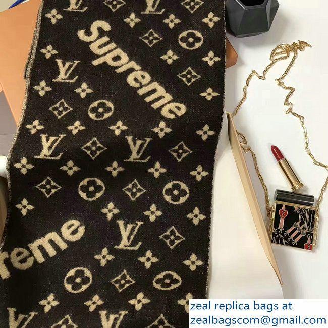 Louis Vuitton Supreme Cashmere Scarf Brown 2021