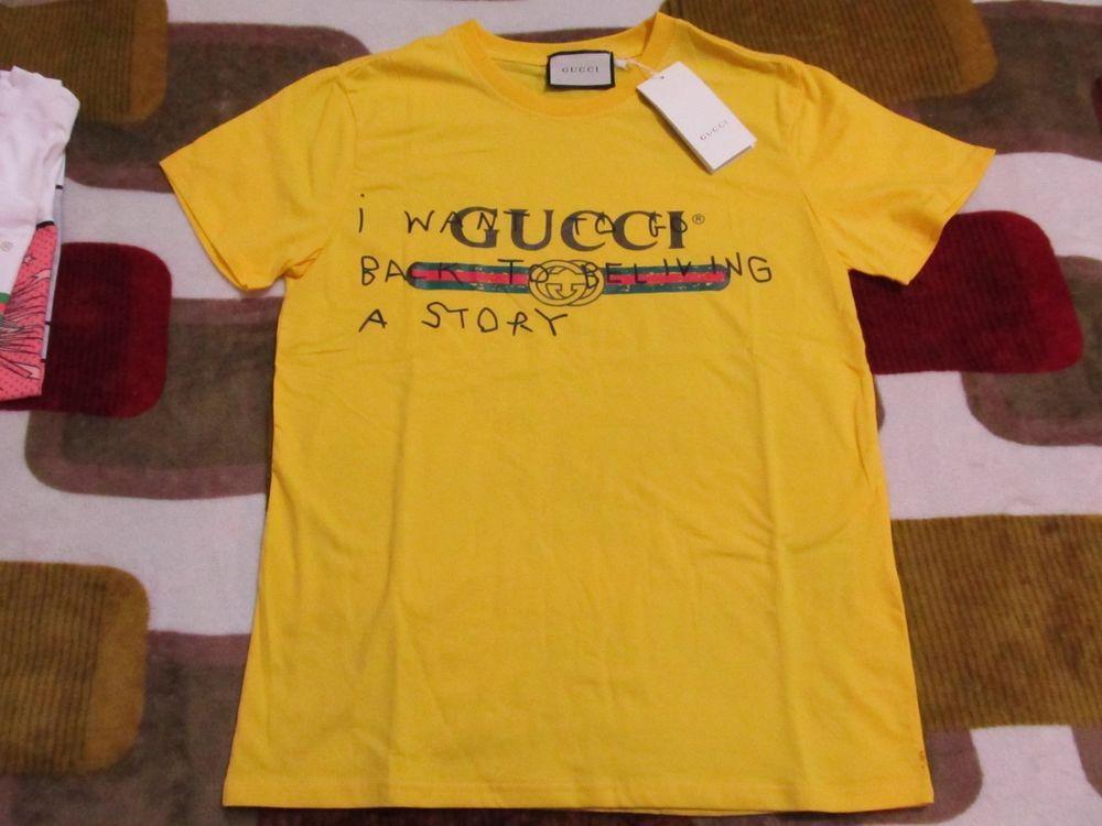 4bbbbd28e153e BNWT Yellow Gucci Coco Capitán Logo T-shirt Size Large L  Gucci  TShirt