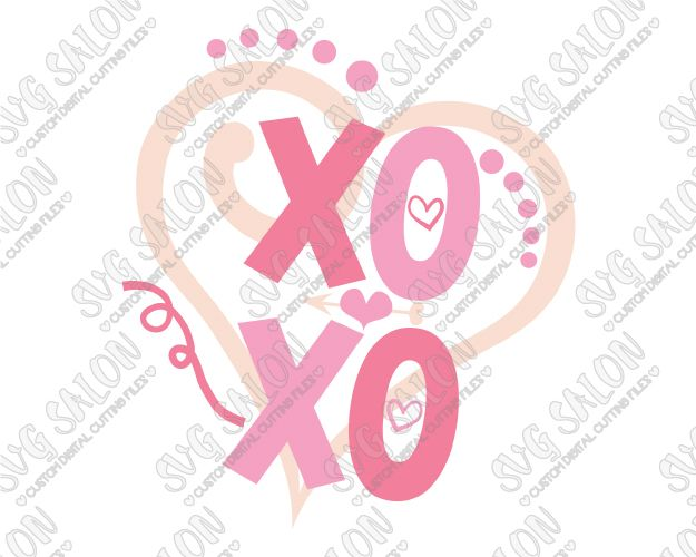 Xoxo Heart Valentine S Day Cut File In Svg Eps Dxf Jpeg And Png