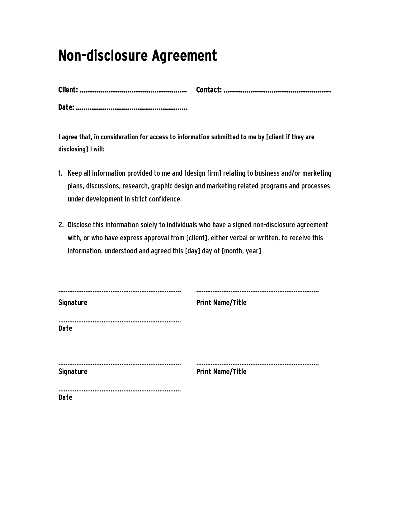 Non Disclosure Agreement Template Confidentiality Agreement