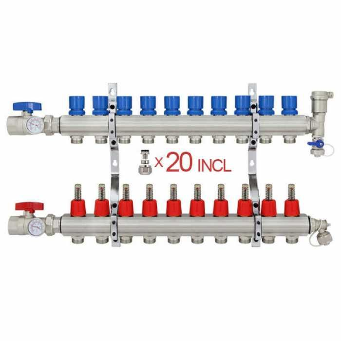 12 Branch Stainless Steel Radiant Heat Manifold Set W 1 2 Pex Adapters Radiant Floor Heating Radiant Heat Radiant Heating System