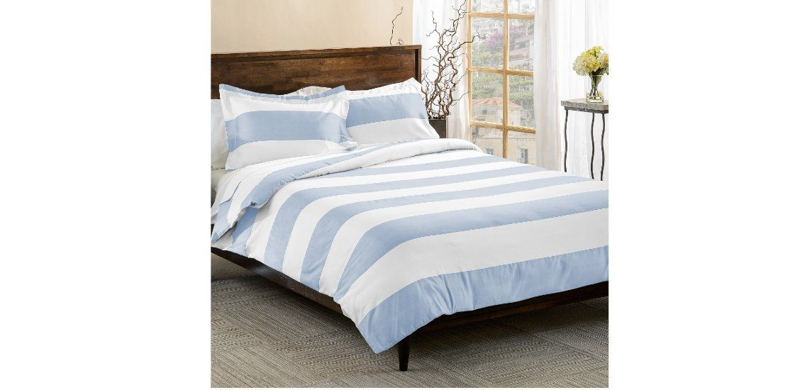 3 Piece Light Blue White Rugby Stripes Duvet Cover Full Queen Set Cabana Striped Bedding Hotel Like 600 Nautical Bedding Sets Full Duvet Cover Striped Bedding