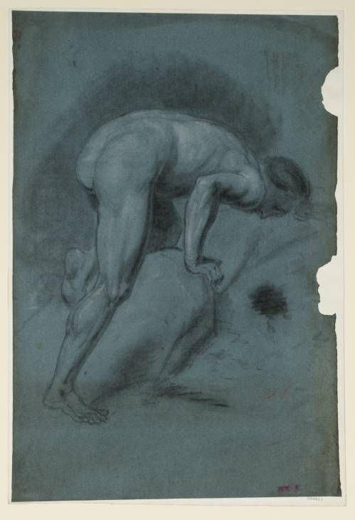 Joseph Mallord William Turner 'A Male Nude Stooping over a Rock, Seen from the Side', c.1796