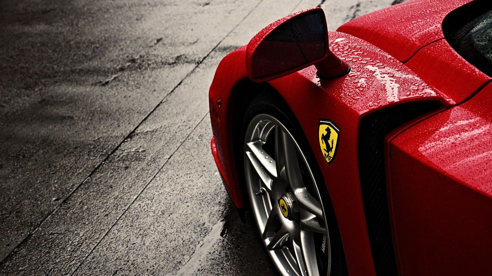 Cars Ferrari Enzo Logo Rain Wheel Widescreen Desktop Mobile Iphone Android Hd Wallpaper And