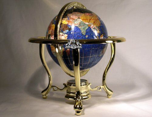 11 tall 150mm dia tripod 3 gold leg stand blue crystal crystallite 3 gold leg stand blue crystal crystallite ocean gemstone world map globe new and awesome product awaits you read it now home decor snow globes gumiabroncs Choice Image