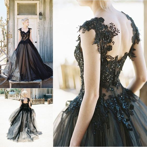 Gorgeous Black Lace Beaded Long A-line Black Tulle 2017