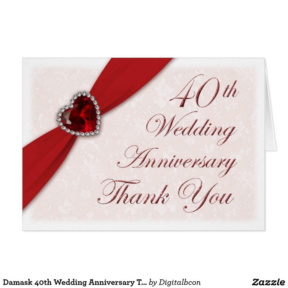 Damask 40th Wedding Anniversary Thank You Card | 40th wedding ...
