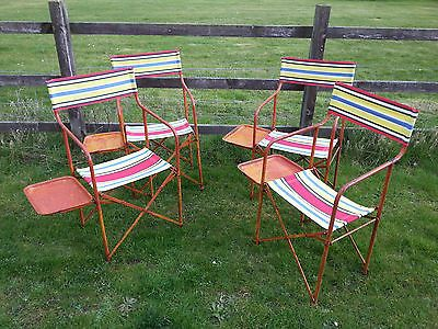 Amazing 1950S Vintage Folding Directors Camping Chairs With Side Pabps2019 Chair Design Images Pabps2019Com