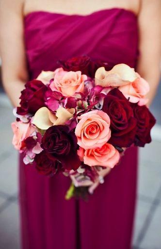 Bouquets Elegant Rose Dutch Hydrangea Maroon Pink Peach La