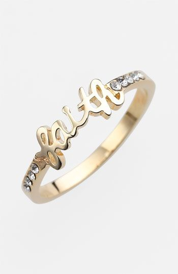 "I just love this little ""Faith"" ring!"