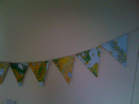 Map Bunting approx 7 ft long with 10 by MarthasHomeInteriors