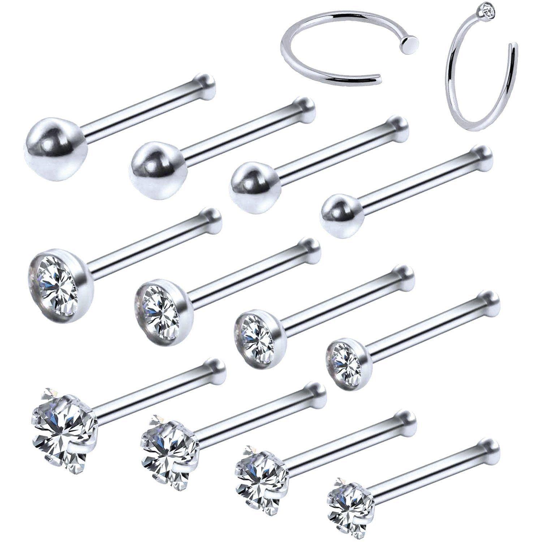Surgical Steel Nose Hoop Stud Clear Gem Crystal Line 20 gauge 20g