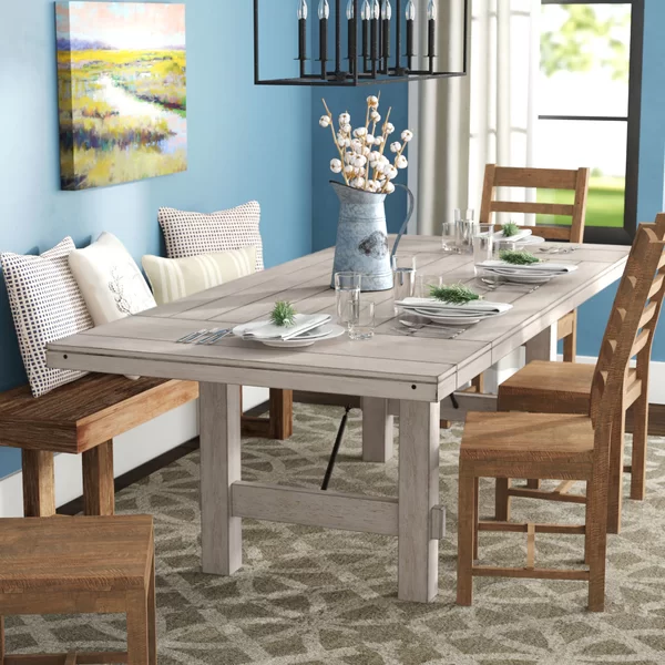 Laurel Foundry Modern Farmhouse Beachem Extendable Pine Dining Table Wayfair Pine Dining Table Wood Dining Table 10 Seater Dining Table