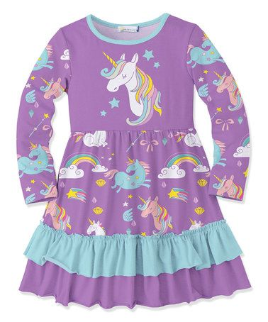 083c6dc2d29a Loving this Purple & Turquoise Unicorn Ruffle A-Line Dress - Toddler & Girls  on #zulily! #zulilyfinds