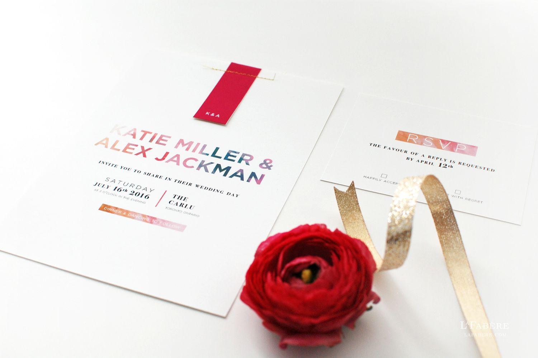 Wedding Invitation Design Ottawa. Modern Floral wedding invitation design by LaFab re  lafabere com