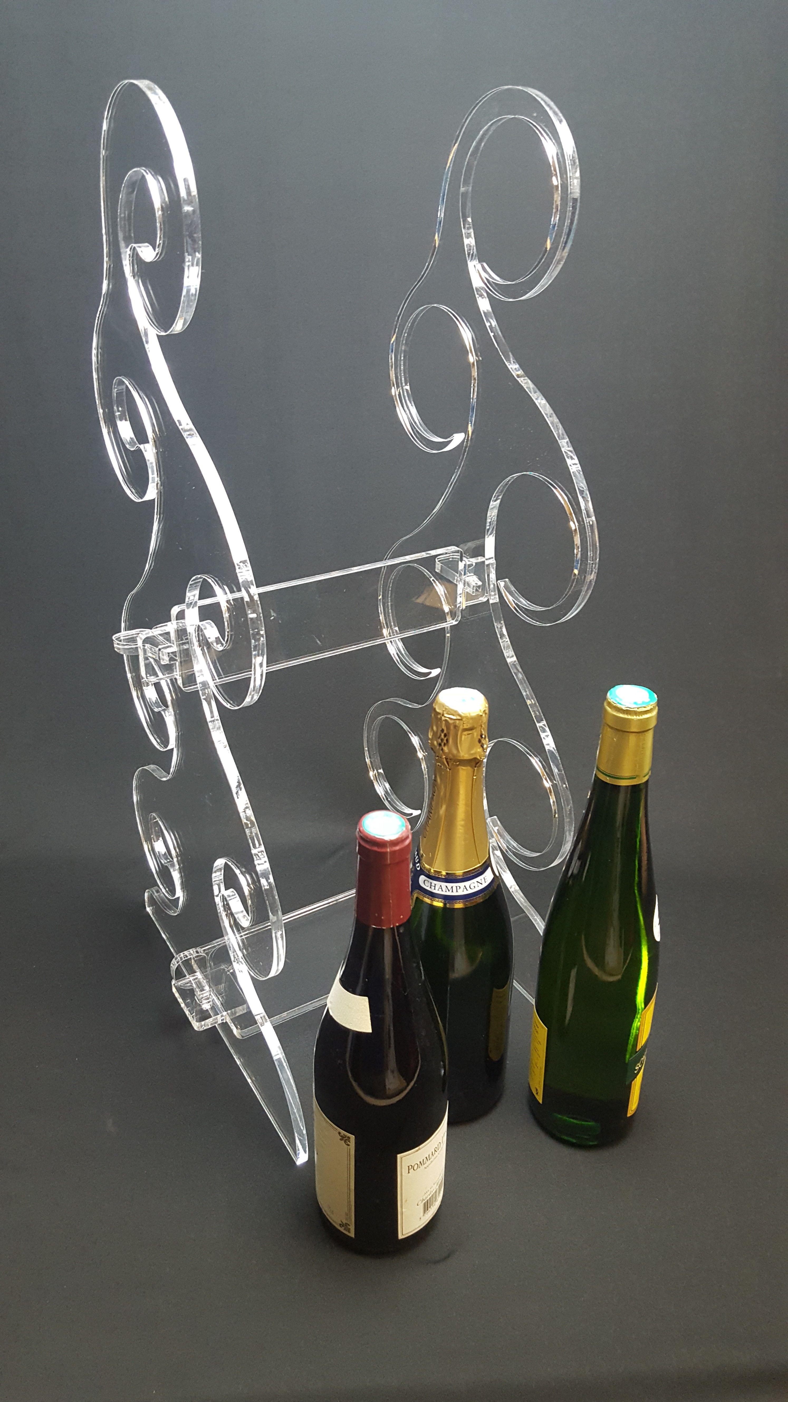 Porte Bouteilles Design En Plexiglas Pour 6 Bouteilles Vin Ou Champagne Porte Bouteille Design Porte Bouteille Gravure Laser