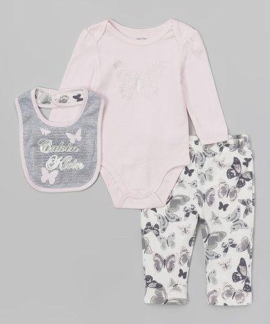 Pink Butterfly Bodysuit Set - Infant by Calvin Klein Underwear #zulily #zulilyfinds