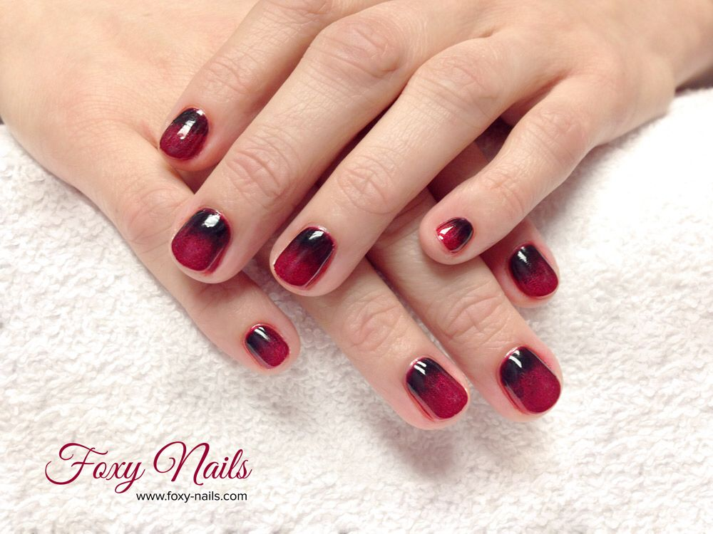 Ombré Gel Nails Red Black Nails By Foxy Nails By Foxy