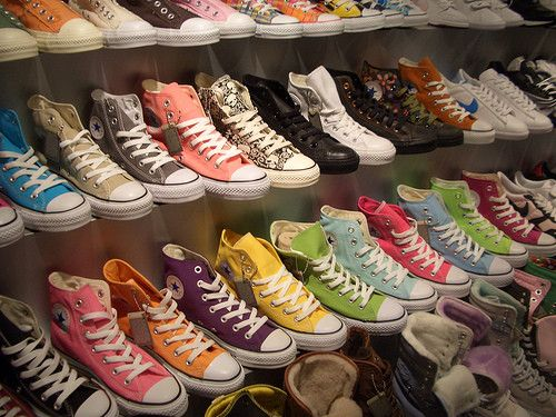 5eab4465b2a1 I need a shoe closet and one wall full of different color Chucks ...
