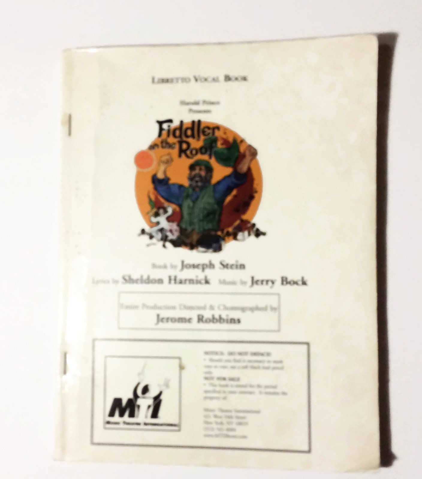 Fiddler on the Roof Musical Vocal Book with Script Music