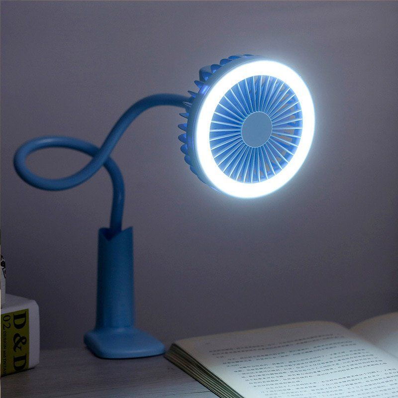 Portable Rechargeable Mini Clip On Usb Fan Led Reading Light Lamp White Led Reading Light Fan Light Portable Led