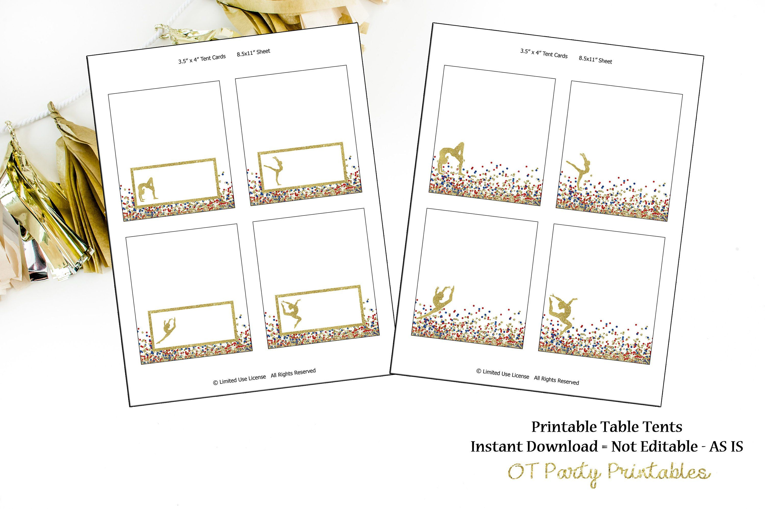Instant Download Gymnastics Table Tents Printable Food Labels Gymnastics Labels You Print Confetti Gy Diy Party Printables Bottle Wrappers Diy Prints