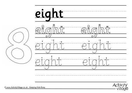 Eight Handwriting Worksheet