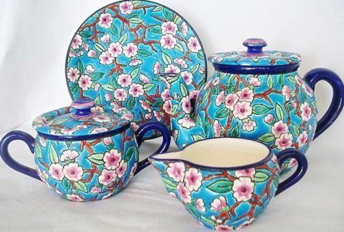 Antique Longwy French Teaset Teapot Sugar Bowl Milk Jug /Pitcher Plate (#2812)