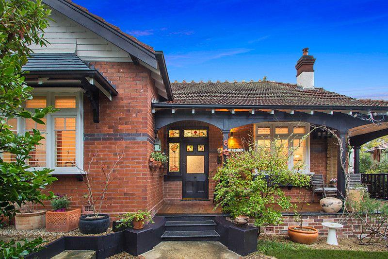 Brick With Black Trim And White Windows Facade House Brick