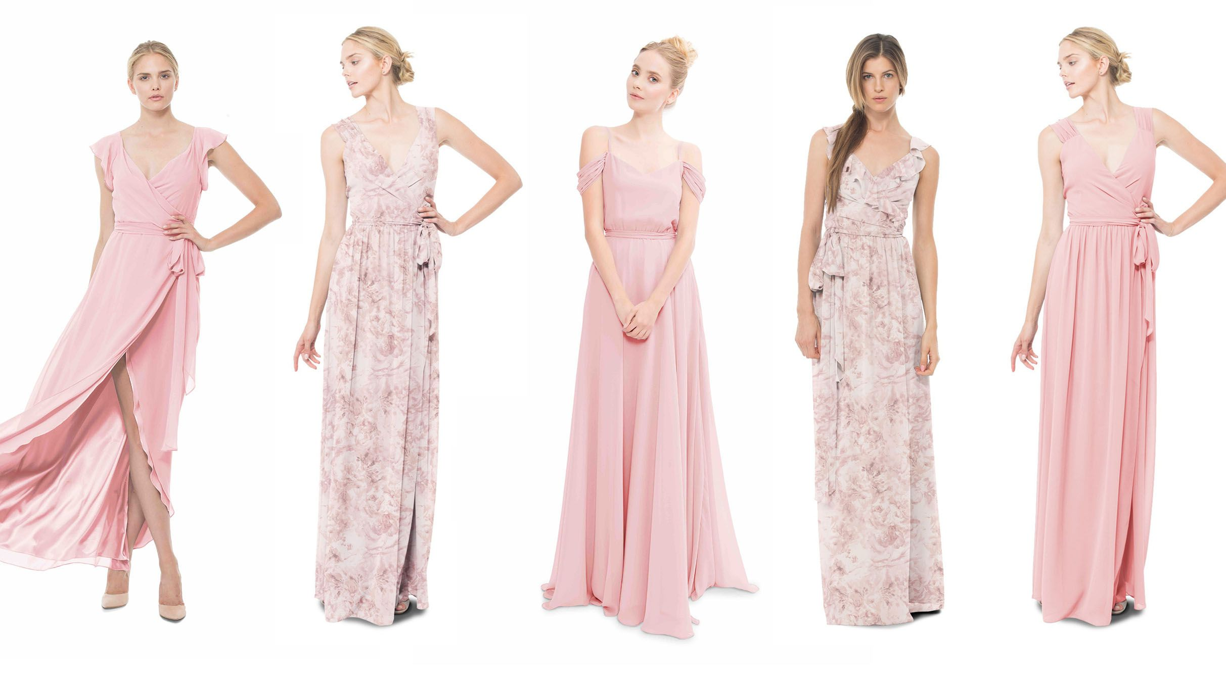 a0552386f28 Joanna August pretty in pink and wildflower blush bridesmaid dresses -  Dorian Long