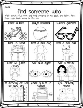 Back to School Getting to Know You Grades 1-2