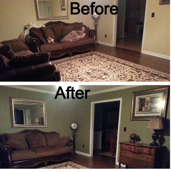 Updated Living Room Color Olympic Sweet Annie From Lowes Added Crown Molding