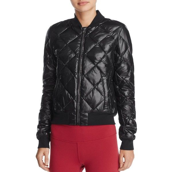 5a1b94646 Alo Yoga Idol Quilted Bomber Jacket ($175) ❤ liked on Polyvore ...