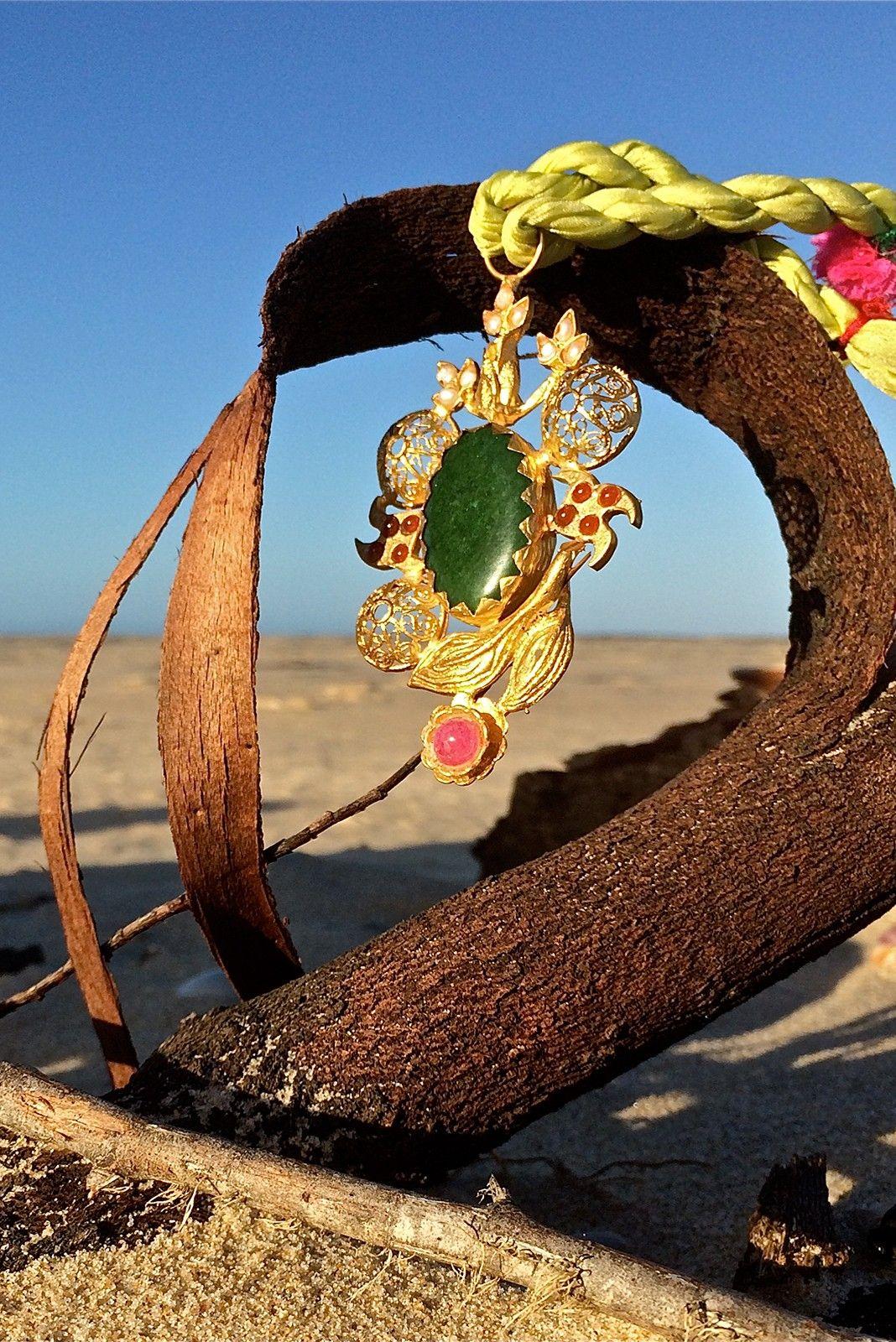 Green Silk and Brass Semiprecious Stone Necklace $89.99