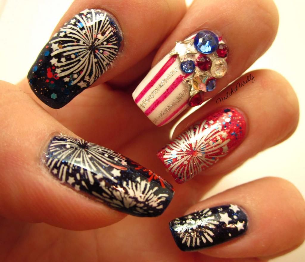 Pinned from NailsofAquarius.com: Holiday Blog Party and Fireworks Stamped Nail  Art Design - Holiday Blog Party And Fireworks Stamped Nail Art Design