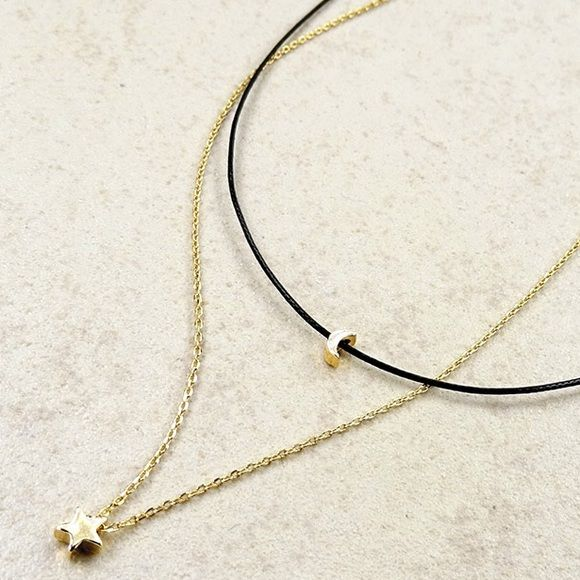 """Wish Upon A ⭐️ Choker Wish upon the ⭐️s for a dainty, delicate layered necklace. A soft black choker cord connects to a high polish durable dainty chain. Features two high polish charms; a ⭐️ to wish upon and a  to light up your way.                                   Chain length 15""""                                                  Nickel & Lead Free Boutique Jewelry Necklaces"""
