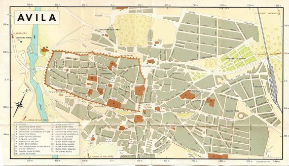 Map Of Europe 1950s.Vintage City Map Avila Spain 1950s By Carambas On Etsy 10 00