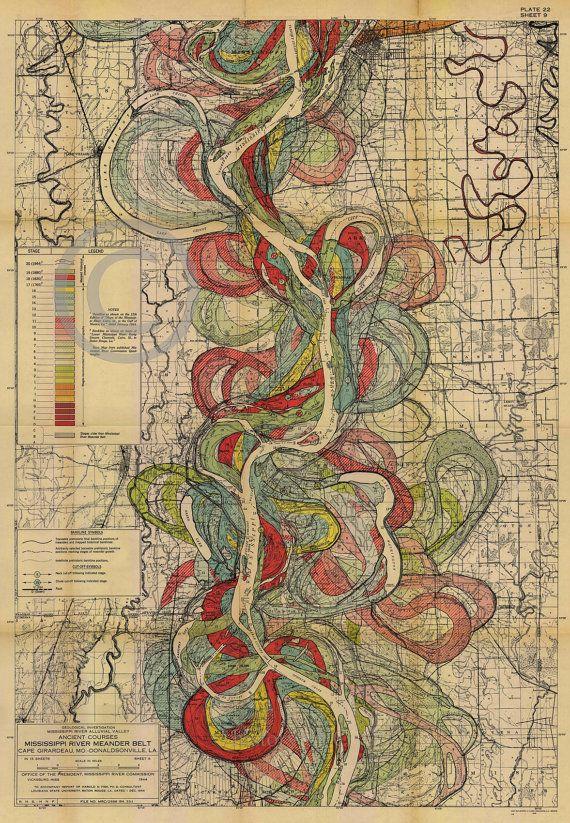 1944 Fisk Mississippi Meander Map Ancient River by HistoryImage