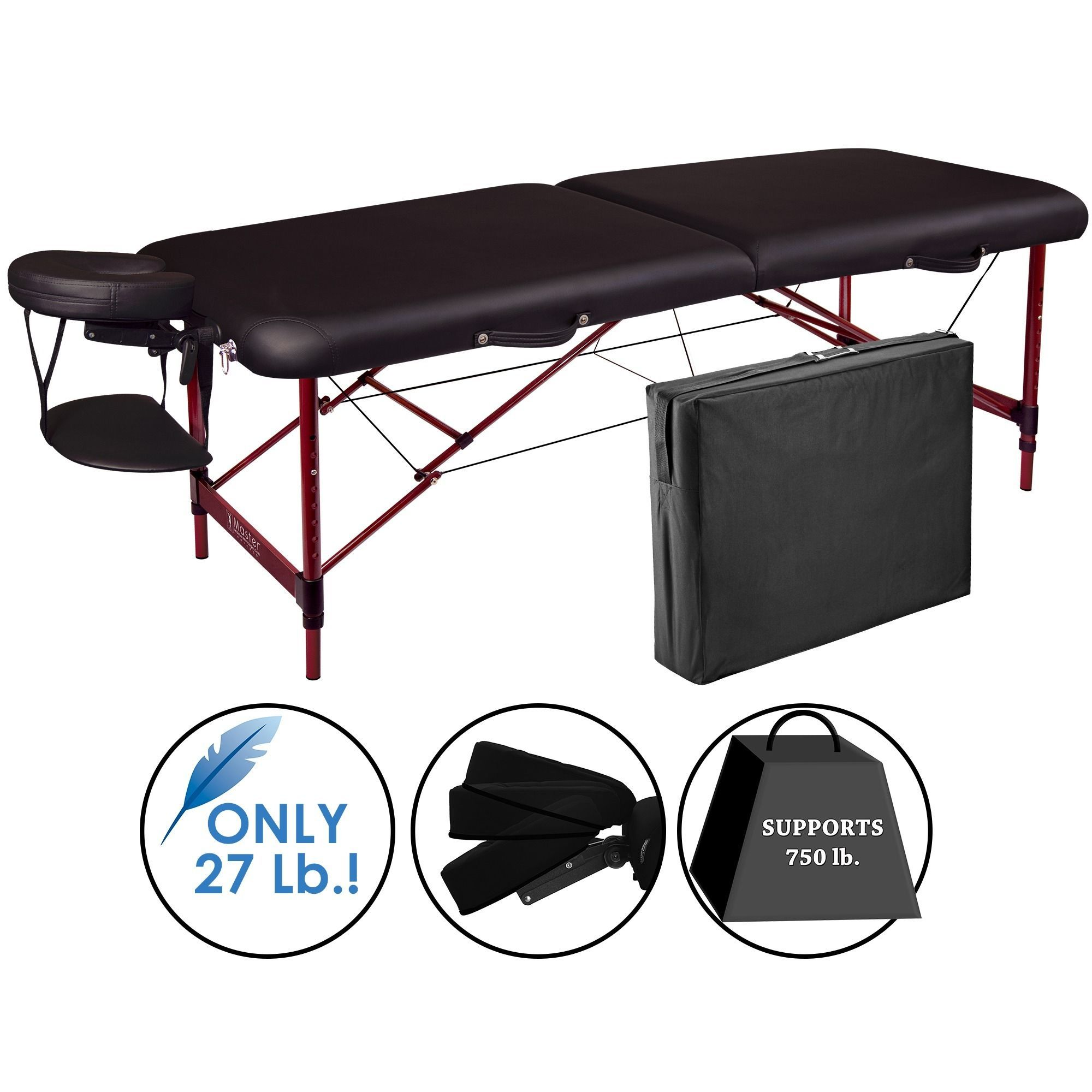 Nuru Chair Master 28 Inch Lightweight Zephyr Portable Massage Table