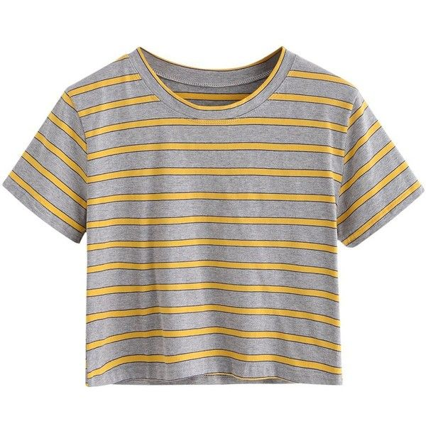 870290f61d4 SweatyRocks Women s Short Sleeve Striped Crop T-Shirt Casual Tee Tops  ( 9.99) ❤ liked on Polyvore featuring tops