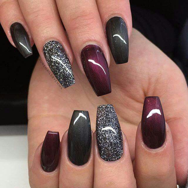 Photo of Love the grey and red together with the accent nail