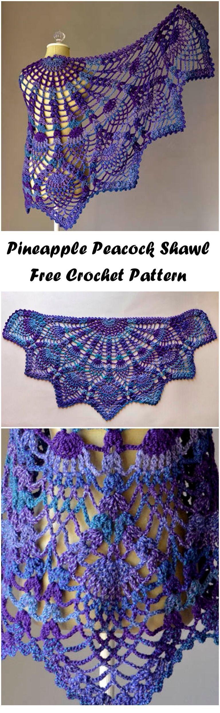Crochet Pineapple Peacock Shawl | Tücher, Schultertuch und Schals tücher