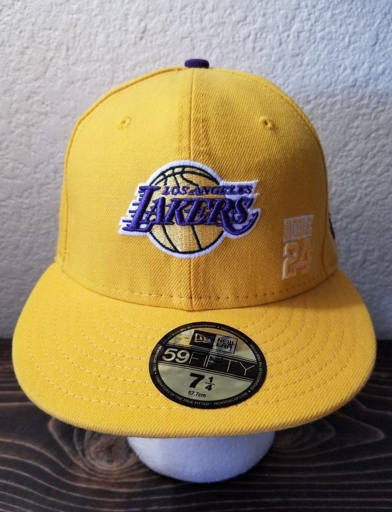best service f2196 ab8a6 LA Lakers KOBE 24 NBA 59Fifty New Era Yellow Ball Cap Hat Men s Fitted 7-1 4   NewEra  LosAngelesLakers