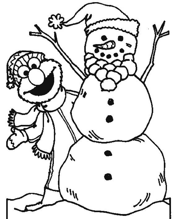 Elmo With Snowman In Winter Coloring Pages Snowman Coloring Pages Elmo Coloring Pages Christmas Coloring Pages