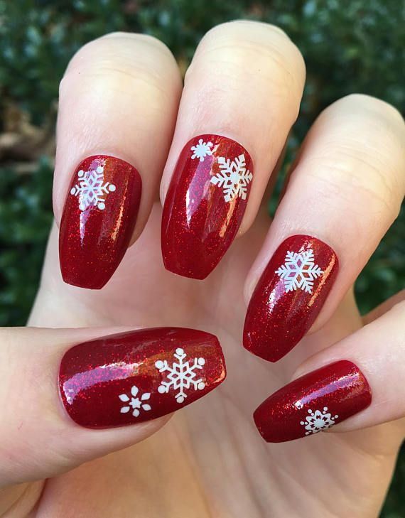 Red Ombre Nails Christmas.Fake Nails Red Nails Stiletto Nails Coffin Nails